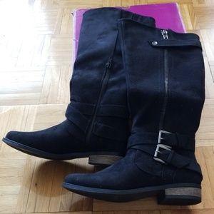 Rampage Hansel Black Buckle Riding Boots, sz 8